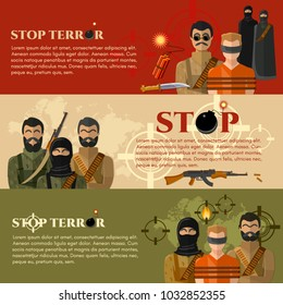Terrorism banner. taking hostages global threat world terror group terrorists vector. Stop terror concept