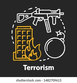 Terrorism chalk concept icon. Gun violence idea. War & terror. Terrorist military attack, explosion. Extremism. Rifle and bomb. Vector isolated chalkboard illustration