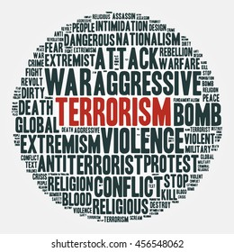 "Terrorism. Cloud of words in a circle. Vector illustration about terror, war and extremism. Red  ""terrorism"" in the center and black words around  isolated on a light background."