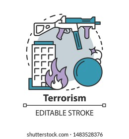Terrorism concept icon. Gun violence idea thin line illustration. War & terror. Terrorist military attack, explosion. Extremism. Rifle and bomb. Vector isolated outline drawing. Editable stroke