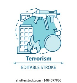 Terrorism concept icon. Gun violence idea thin line illustration. War and terror. Terrorist military attack, explosion. Extremism. Rifle and bomb. Vector isolated outline drawing. Editable stroke