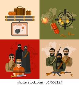 Terrorism concept taking hostages global threat world terror group terrorists vector set