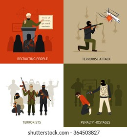 Terrorism design concept set with recruiting terrorists and hostages penalty flat icons isolated vector illustration