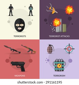 Terrorism design concept set with terrorist attacks and weapons flat icons set isolated vector illustration