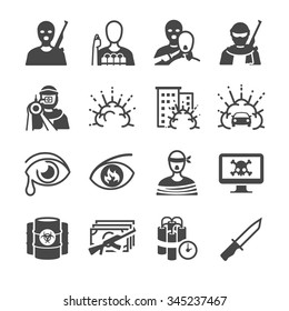 Terrorism icon. Included the icons as bomber, bomb, terrorist, cry, war, violent and more.