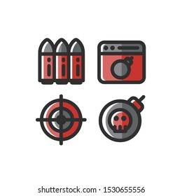 Terrorism icon set , Bullet, Target, Bomb, Terror, Vector Illustration