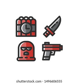 Terrorism icon set , Dynamite, Bomb, Knife, Gun , Pistol , Vector Illustration