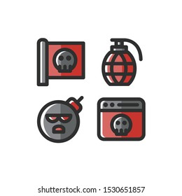 Terrorism icon set , Flag, Grenade, Bomb, Cyber Terror, Vector Illustration