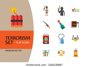Terrorism Icon Set. Kamikaze Fire Cocktail Dynamite Army Tags Hostage Bomb With Timer Machine Gun Missiles Explosion Refugees Terrorist Shooting Target War