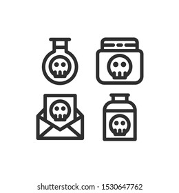 Terrorism icon set , Terror, Poison, Toxic, Bottle , Vector Illustration