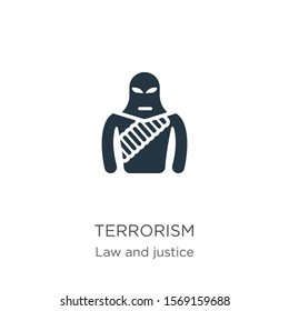 Terrorism icon vector. Trendy flat terrorism icon from law and justice collection isolated on white background. Vector illustration can be used for web and mobile graphic design, logo, eps10