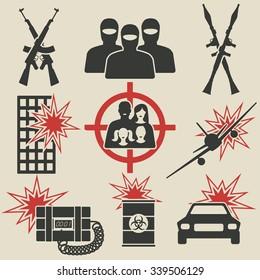Terrorism icons set. vector illustration - eps 8
