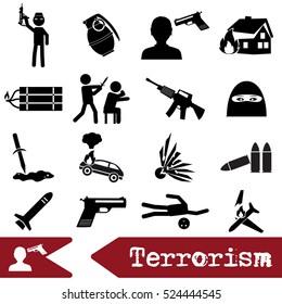 terrorism theme set of simple icon eps10