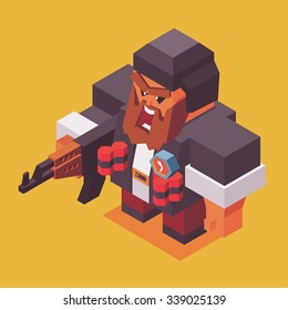 Terrorist with ak-47 and bomb or dynamite. vector illustration