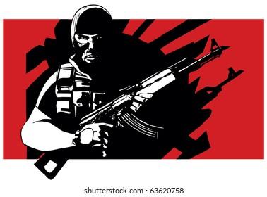 Terrorist with AK-47 rifle and balaclava