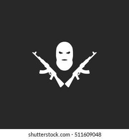 Terrorist balaclava mask ak symbol sign silhouette icon on background
