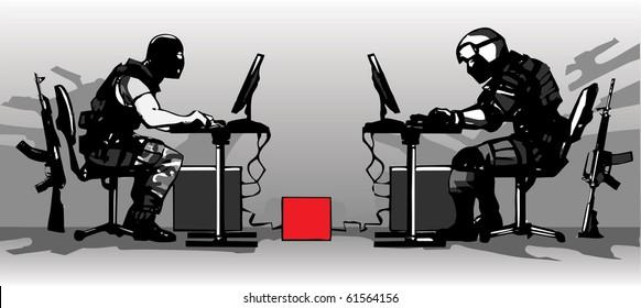 Terrorist and counter-terrorist playing a LAN video game