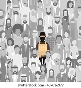 Terrorist In Crowd People Group Terrorism Threat Concept Flat Vector Illustration