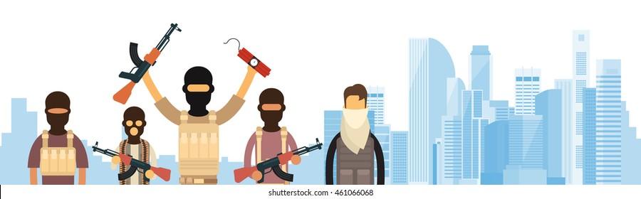 Terrorist Group Over City View Banner Flat Vector Illustration