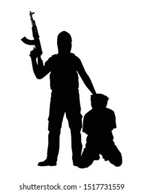 A terrorist with his weapon and a hostage silhouette vector