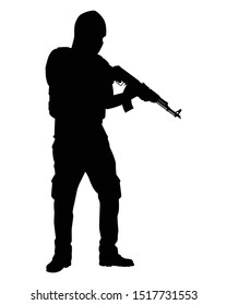A terrorist with his weapon silhouette vector
