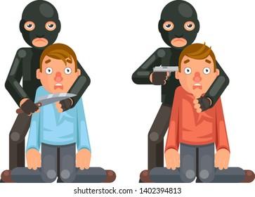 Terrorist hostage criminal thief gun knife character crime threat buyout request design flat vector illustration