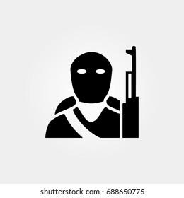 terrorist icon. vector sign symbol on white background