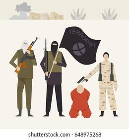 terrorist people man vector illustration flat design