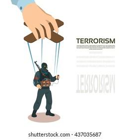 Terrorist Puppet Hand Terrorism Control Vector Illustration