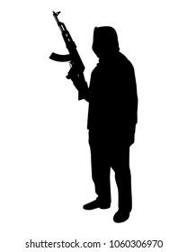 Terrorist with rifle gun silhouette vector