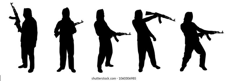 Terrorist with rifle gun silhouette vector set