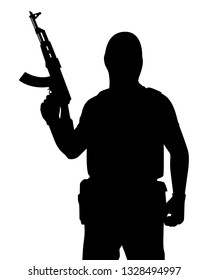 Terrorist with rifle gun silhouette vector, people on white background