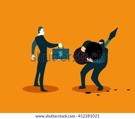 Terrorist Selling Stolen Oil Vector Illustration Stock
