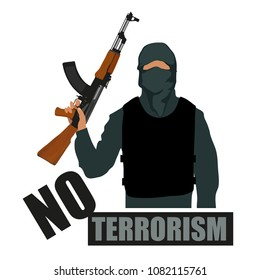 Terrorist with weapon. Stop terrorism. Terrorism concept. Vector graphics to design.