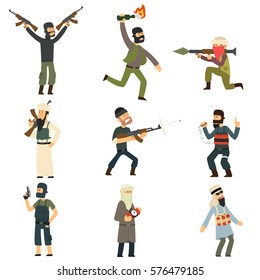 terrorists with weapons and explosives. vector illustration