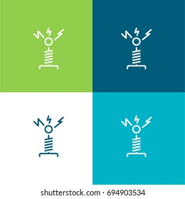Tesla coil green and blue material color minimal icon or logo design