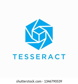 Tesseract Logo Design. Combination of Hexagon and Cube