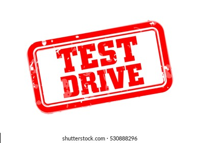 Test drive rubber stamp vector illustration.