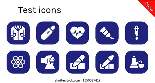 test icon set. 10 filled test icons.  Simple modern icons about  - Lab coat, Pregnancy test, Cardiogram, Tube, Dropper, Chemistry, Flask, Pipette, Eyedropper