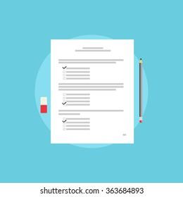 Test paper, exam, or survey concept illustration. School test. School exam.