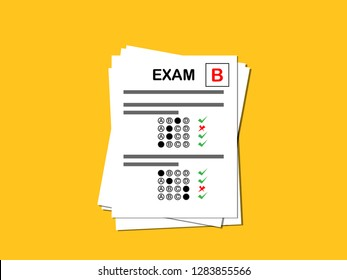 Test paper on yellow background, Exam student, Grade B.