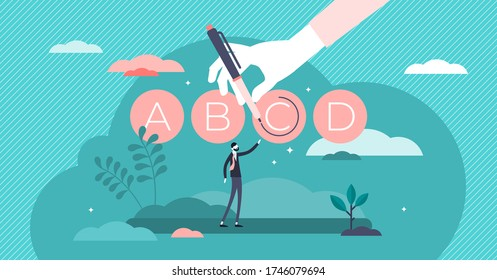 Test prep or exam preparation vector illustration in flat tiny persons concept. Educational course, tutoring service and learning method to improve knowledge score in university, school or college.