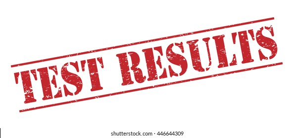 test results vector stamp on white background