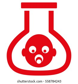 Test Tube Baby vector icon. Flat red symbol. Pictogram is isolated on a white background. Designed for web and software interfaces.