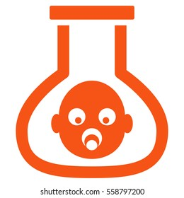 Test Tube Baby vector icon. Flat orange symbol. Pictogram is isolated on a white background. Designed for web and software interfaces.