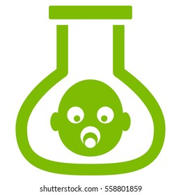 Test Tube Baby vector icon. Flat eco green symbol. Pictogram is isolated on a white background. Designed for web and software interfaces.