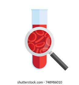 Test tube with blood and magnifying glass. Medical research, analysis. Vector illustration.