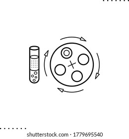 test tube with human blood and centrifugal wringer, plasma vector icon in outlines