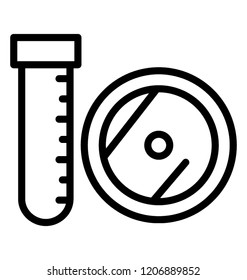 Test tube icon design for laboratory research concept
