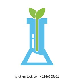 test tube icon - Eco Lab icon logo isolated. Organic Laboratory